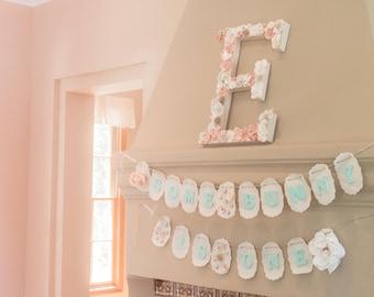Floral Letter E, birthday decor, baby shower, bridal shower