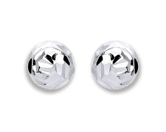 925 Sterling Silver Polished Disco Half Ball Stud Earrings 6mm 8mm 10mm