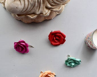 Flower Mini Hair Clip, ANY COLOUR, Slide, Fascinator made from a Paper Rose