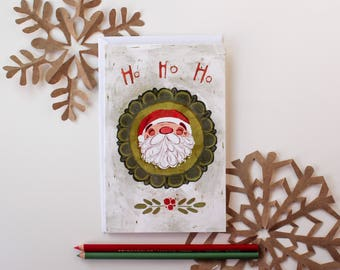 "Merry Christmas Greeting Card, 5"" by 7"" inches, Santa Clause"