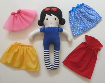 """Snow White Fabric Stuffed Doll Changeable Skirts and Tutu Detachable Cape 14.5"""" (37cm) Tall"""