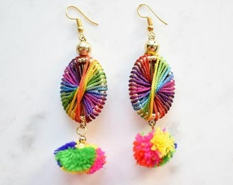 CLEARANCE: Rainbow Earrings, Boho Earrings, Pom Pom Earrings, Colourful Hoop Earrings, Dangling Earrings, Retro 60s Earrings, Hippie Earring