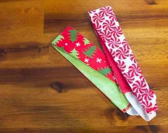 Christmas Youth Headband, Fabric Headband, Reversible Christmas Headbands, Washable Headbands, No pull headbands