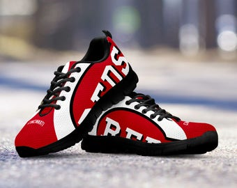 Cincinnati Reds Baseball Fan Custom Running Black Shoes/Sneakers/Trainers - Ladies + Mens Sizes