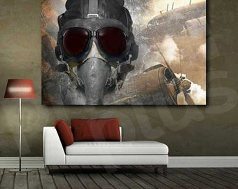 Pilot Aircraft Plane Propeller Army Air Force Art Canvas Poster Print Home Decor