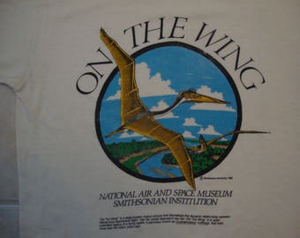 Vintage 80's National Air And Space Museum Smithsonian Institution Souvenir White T Shirt Size L