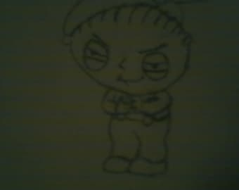 Stewie Griffin Family Guy Handdrawn Drawing printed