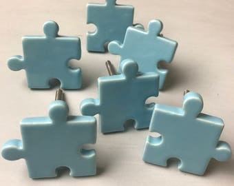 Set 6 x BLUE JIGSAW PUZZLE ceramic - Knob Home decor drawer pull Nursery