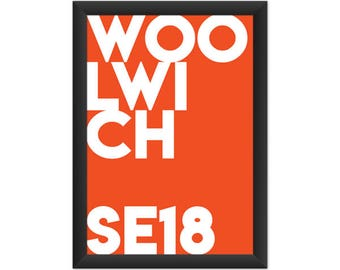 Woolwich Typography SE18 - Giclée Art Print - South London Poster