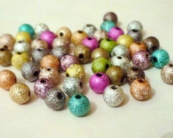 Lot 50 stardust, glittery, sparkly - 6mm - multicolored - round beads