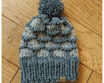 Made to Order - Hand Knitted/Chunky Knit Pom-Pom Hat, Hand Knitted Slouchy Beanie, Winter Accessories/Color of your choice/Adult Large