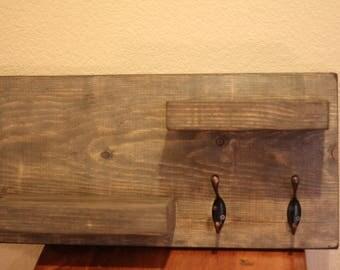 Rustic & Gray 2 Tier shelf with 2 Hooks.