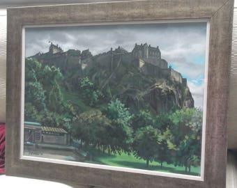 Original framed painting. Edinburgh Castle.