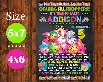 Shopkins Invitation, Shopkins Birthday Invitation, Shopkins Birthday Party, Shopkins Printables, Shopkins chalkboard, Shopkins Invite.