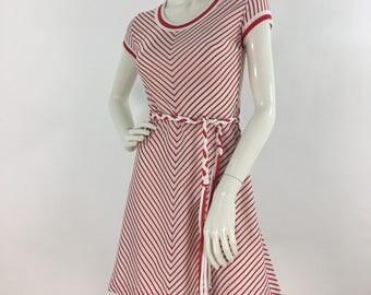 70s striped dress/1970s candy cane dress/striped vintage dress