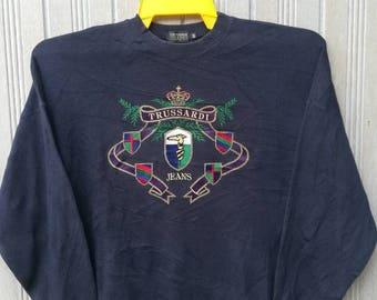 Vintage Trussardi Jeans Big Logo Embroidery Sweatshirt