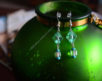 Swarovski crystal & Turquoise dangle earrings