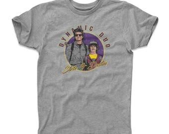 Stranger Things Kids T-Shirt | Tv Show Steve Harrington & Dustin Henderson Themed Apparel | Steve And Dustin Dynamic Duo WHT