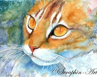 Orange Cat Original Watercolor Painting