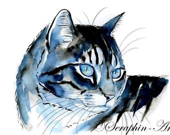 Blue Tabby Cat Original Watercolor Painting