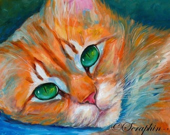 Ginger Tabby Cat Original Acrylic Painting