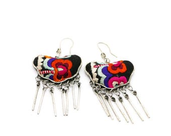 Silver earrings Miao embroidery/Miao Silver Earrings with Hand Embroidery