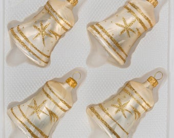 "Navidacio 4 pcs. Glass Bells Set in ""Ice Champagne Gold"" Comet New"