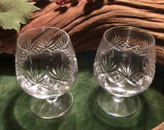 Vintage Pair of Edinburgh Hand Cut Lead Crystal Brandy Balloons / Glasses