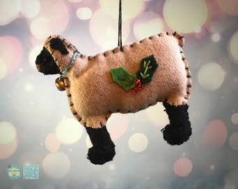 hand stitched sheep Christmas Handcrafted felt Christmas tree decoration / felt hanging ornament chic felt / primitive decoration lamb