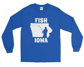 Fish Iowa Fishing Long Sleeve T-shirt | Fishing Apparel