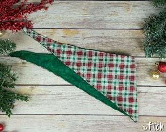 Christmas Tartan - Christmas Dog Bandana - Tie Up Bandana - Double Sided Dog Bandana