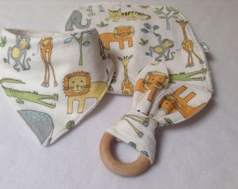 Baby Gift Set, Baby Burp Cloth Set, Dribble Bib, Teether