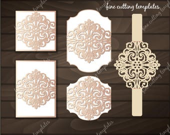Wedding Invitation Card template for cutting, laser cut Digital Instant Download Cricut Cameo (svg, dxf, eps10)