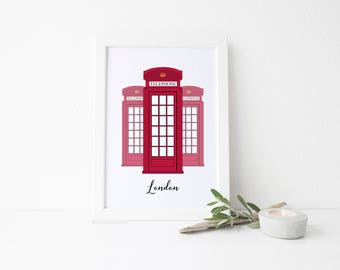 London Travel Art Print - Phone Booths