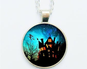 Haunted House Pendant Necklace / Earrings / Ring / Pin Badge Spooky Dramatic Scary Halloween All Hallows Jewellery Jewelry