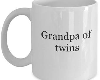 Pregnancy reveal, twin grandfather gift, grandpa mug, twin pregnancy reveal mug, grandpa to be mug, new grandpa gifts, first time grandpa