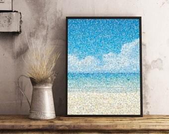 Printable Poster, Art, Living room Decor, Large Printable Poster, Digital Download, Dots, Sea, Ocean, Beach