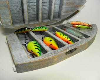Wooden rustic box for lures, fishing baits and wobblers - With plastic insert - MY SPECIAL BOX