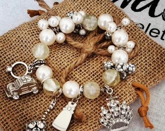 Breathtakingly Beautiful Roosevelt's Pearls and Things Bracelet With Charms