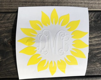 Sunflower Monogram Decal/ Monogram Decal/ Gift/ Sunflower