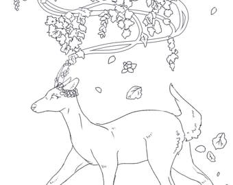 Colouring page - deer