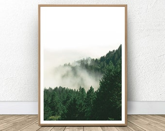 Forest Print, Green Wall Decor, Minimalist Forest, Nature Printable, Forest Wall Prints, Moody Photography, Housewarming Decor, Green Print