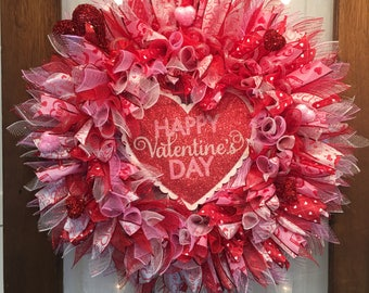 Pink Red and White Valentine's Day wreath