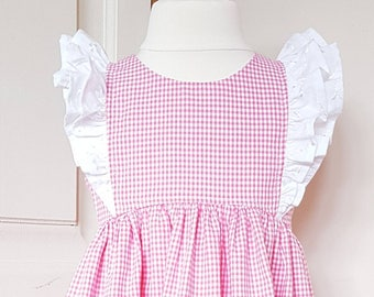 Pink & white gingham ruffle dress available in age 6 months  to 6 years