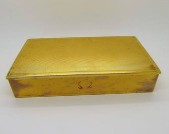 OMEGA Vintage Watch Box 1950s Very Rare Gilt Solid Silver Constellation Series