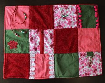 Fidget Blanket - Rose Floral - Dementia Alzheimer's - Fidget Quilt - Sensory Blanket - for adults - Lap Pad - Activity Blanket LLBQ-005PR