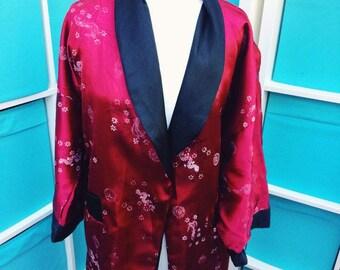 Vintage Unisex Kimono Robe Smoking Jacket XL
