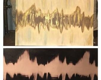 Sonogram heartbeat painting