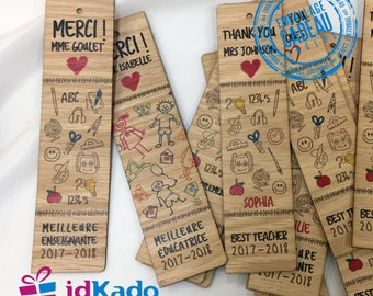 Bookmarks in real wood-personalized-recognition gift for teachers-thank you Gift