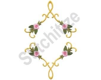 Victorian Floral - Machine Embroidery Design, Flower Frame